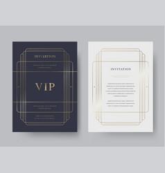 Luxury vintage golden invitation card templ vector