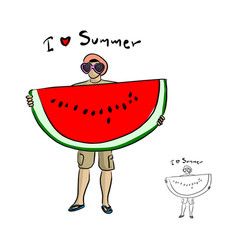 man with sunglasses holding big water melon vector image