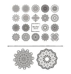 mandalas ornament round set vector image