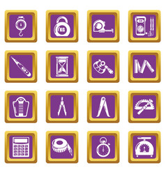 Measure precision icons set purple square vector