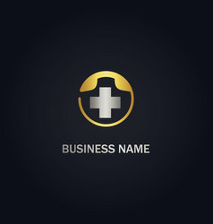 medical cross phone gold logo vector image