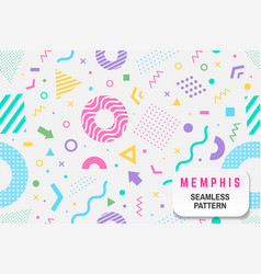 memphis seamless pattern different vector image