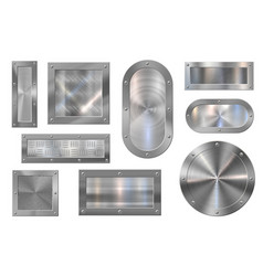 metal plate banner steel signboard brushed vector image