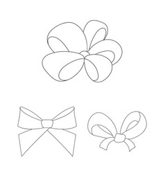 multicolored bows outline icons in set collection vector image