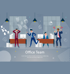 Office team in panic chaos at workplace banner vector
