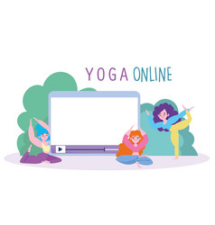 online yoga group women characters with tablet vector image