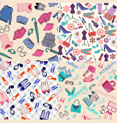 pattern set of fashion woman clothes accessories vector image