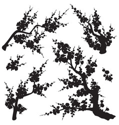 Plum blossom branches silhouette set vector