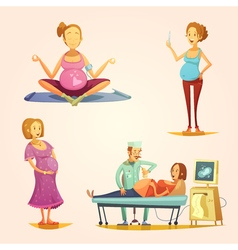 Pregnancy Retro Cartoon 4 icons Set vector
