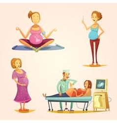 Pregnancy retro cartoon 4 icons set vector