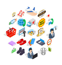 Publicity icons set isometric style vector
