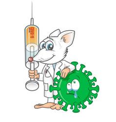 rat lab mascot fight against covid19 19 vector image