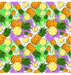 Seamless pattern pineapple fruits exotic ornament vector