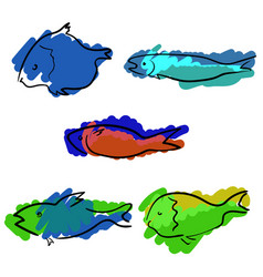 Set of colored handdrawn fishes vector