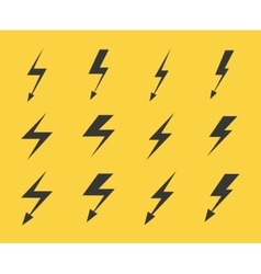 Set of lightnings over yellow background vector image