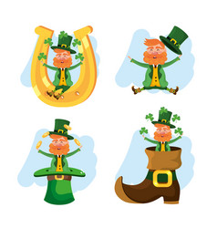 set st patrick man with boot and horseshoe vector image