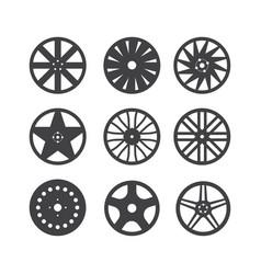 Set wheel rim isolated on white background vector