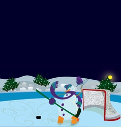 Snowman is waving hello banner vector image