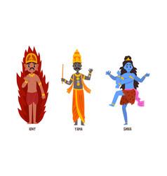 statues indian gods set igny yama shiva vector image