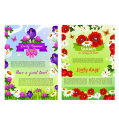 Summer holiday posters of flowers bouquets vector