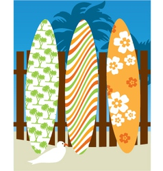 Surf board scene vector