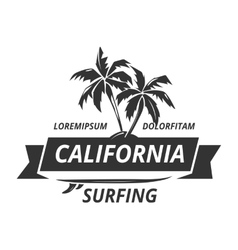 Surfing logo with palm tree vector