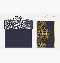Template for laser cutting envelope with floral vector