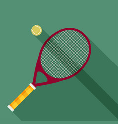 Tennis racket and ball icon with long shadow flat vector