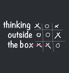 Think outside box concept with tic tac toe vector