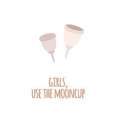 two zero waste eco menstrual cup in a flat style vector image