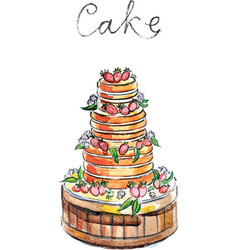 Watercolor big cake vector