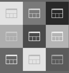 web window sign grayscale version of vector image