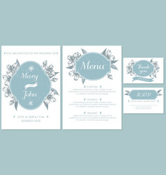 Wedding invitation card with light blue almond vector