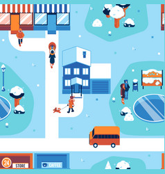 winter city landscape seamless pattern vector image