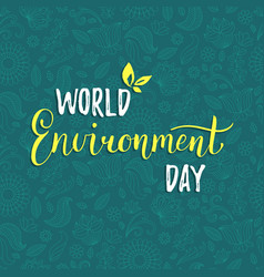 World environment day card on floral vector