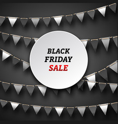 Black friday poster with bunting pennants vector