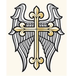christian cross and wings vector image vector image