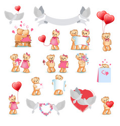 cute teddy bear decorative collection on white vector image