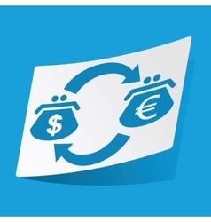 Dollar-euro exchange sticker vector image vector image