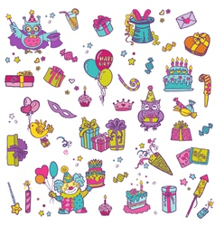 Hand drawn Birthday Celebration Design Elements vector image vector image