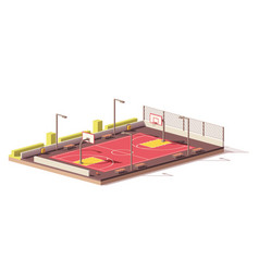 low poly basketball court vector image vector image