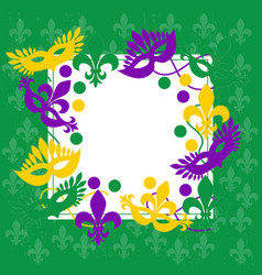 mardi gras elegant green frame place for text vector image