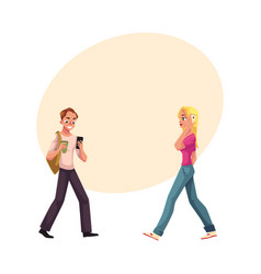 young man and woman using smartphone mobile phone vector image