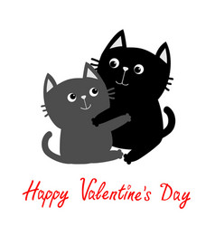 Black gray cat hugging couple family hug vector