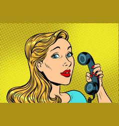 blonde woman talking on retro phone vector image