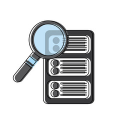data base center server magnifier search system vector image