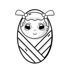 line cute baby girl with hairstyle in the blanket vector image vector image