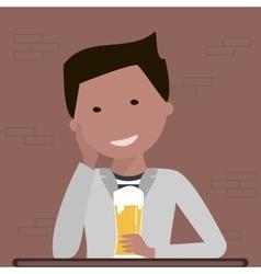 Man Drinking Beer vector image