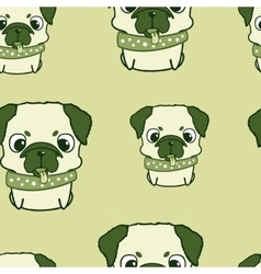 Seamless pattern with pug puppies Colorful vector image vector image