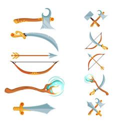 set of fantasy cartoon game design crossed vector image
